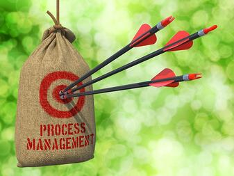 Process Management - Three Arrows Hit in Red Target on a Hanging Sack on Natural Bokeh Background..jpeg